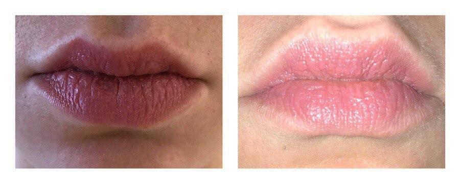 Clinique Pop Lip Colour Nude Pop, свотч на губах
