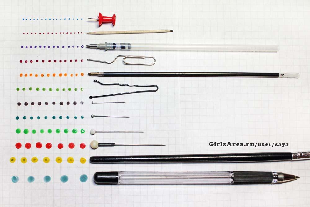 Размеры точек от самодельных маникюрных инструментов