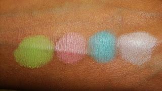 Виды теней для век от MAC - сатиновые тени - вид на коже