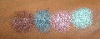 Виды теней для век от MAC - перламутровые велюксовые тени - вид на коже