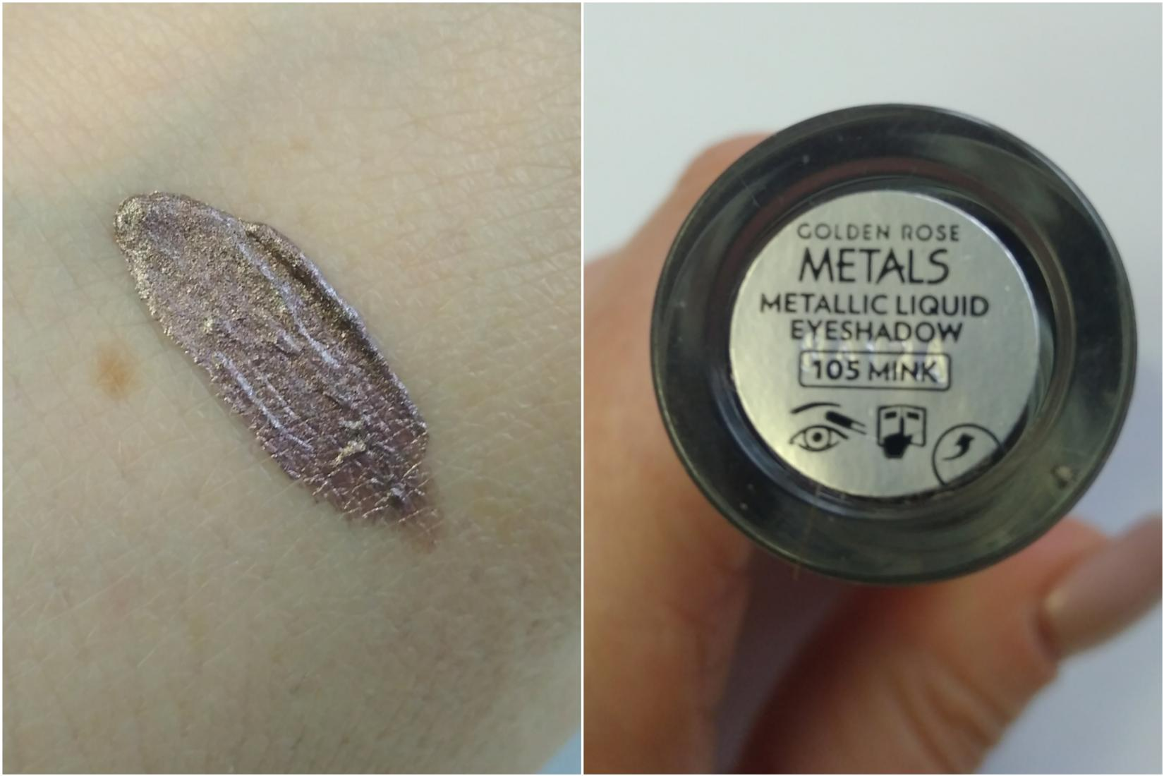 Жидкие тени Golden Rose Metals, оттенок 105 Mink - свотч
