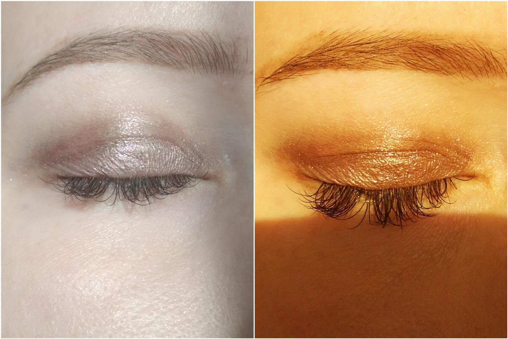 Жидкие тени Golden Rose Metals, оттенок 105 Mink - макияж, свотч на глазах