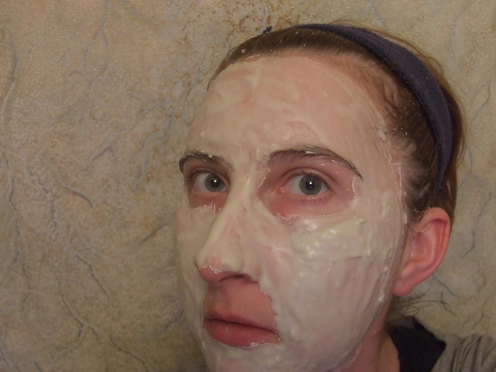 Альгинатная маска - вид на лице