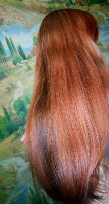 Маска Estel NewTone, оттенок 7/44Русый медный интенсивный- результат на волосах