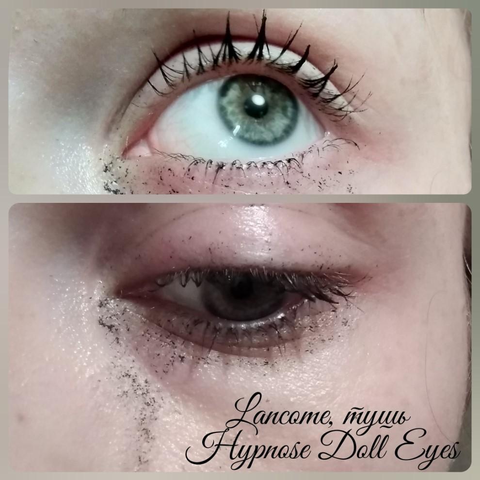 Тушь Lancome Hypnose Doll Eyes - тест на водостойкость (растекание от слез)