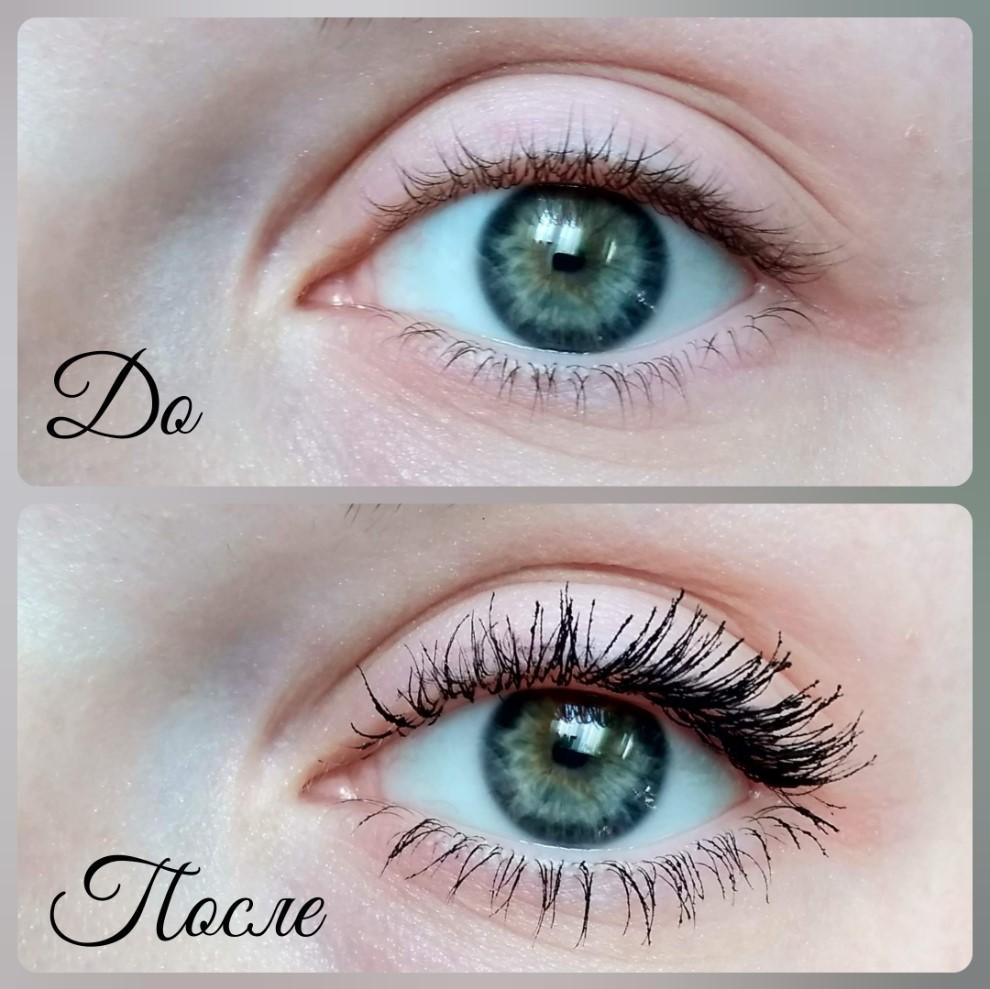 Тушь Lancome Hypnose Doll Eyes - эффект на ресницах До и После