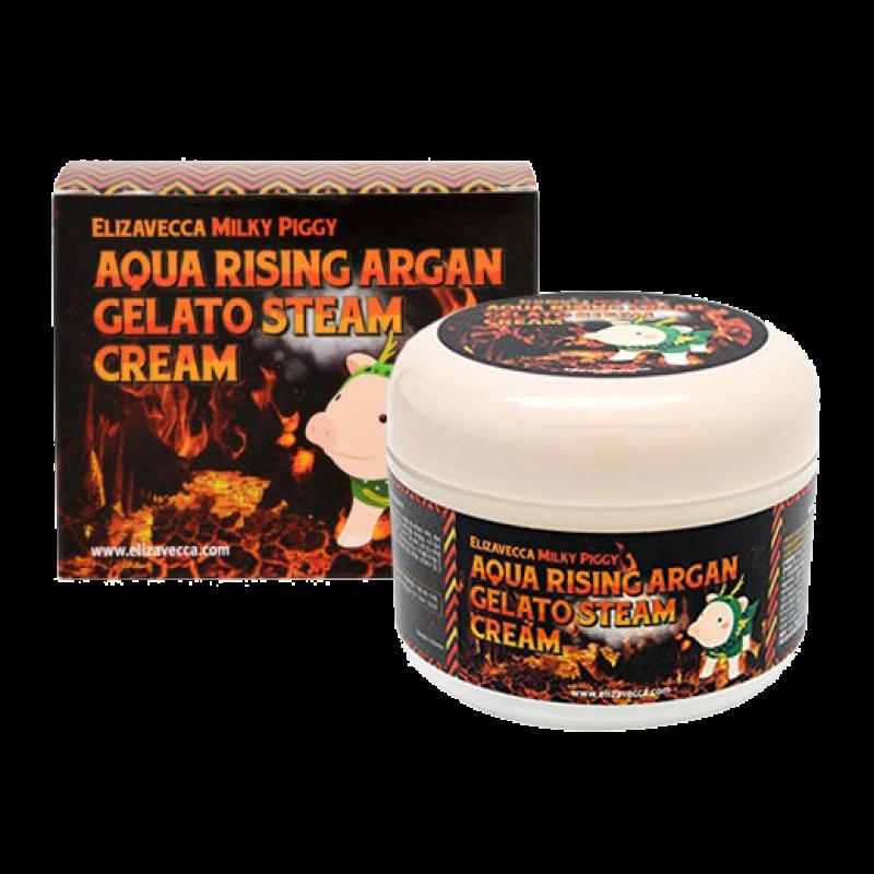Крем для лица Elizavecca Milky Piggy Aqua Rising Argan Gelato Steam Cream Паровой Увлажняющий с аргановым маслом
