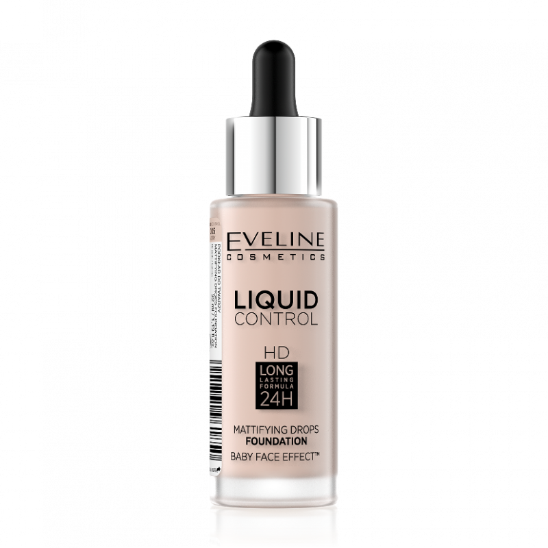 Жидкая тональная основа Eveline Liquid Control HD Matifying Drops Foundation