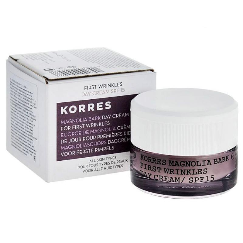 Дневной крем от первых морщин Korres First Wrinkles Day Сream / SPF 15 с экстрактом коры магнолии для всех типов кожи