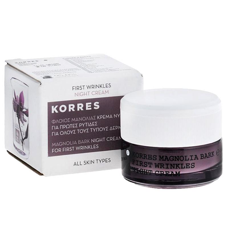 Ночной крем от первых морщин Korres First Wrinkles Night Сream с экстрактом коры магнолии для всех типов кожи