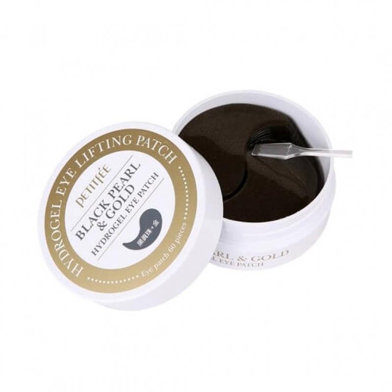 Гидрогелевые патчи для глаз Petitfee Hydrogel Eye Patch Black Pearl & Gold с золотом и пудрой черного жемчуга