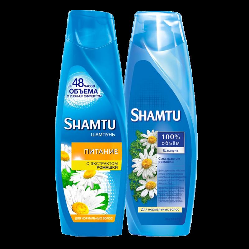 Шампунь Shamtu 100% Объем до 48 часов объема с push-up эффектом Питание с экстрактом ромашки для нормальных волос