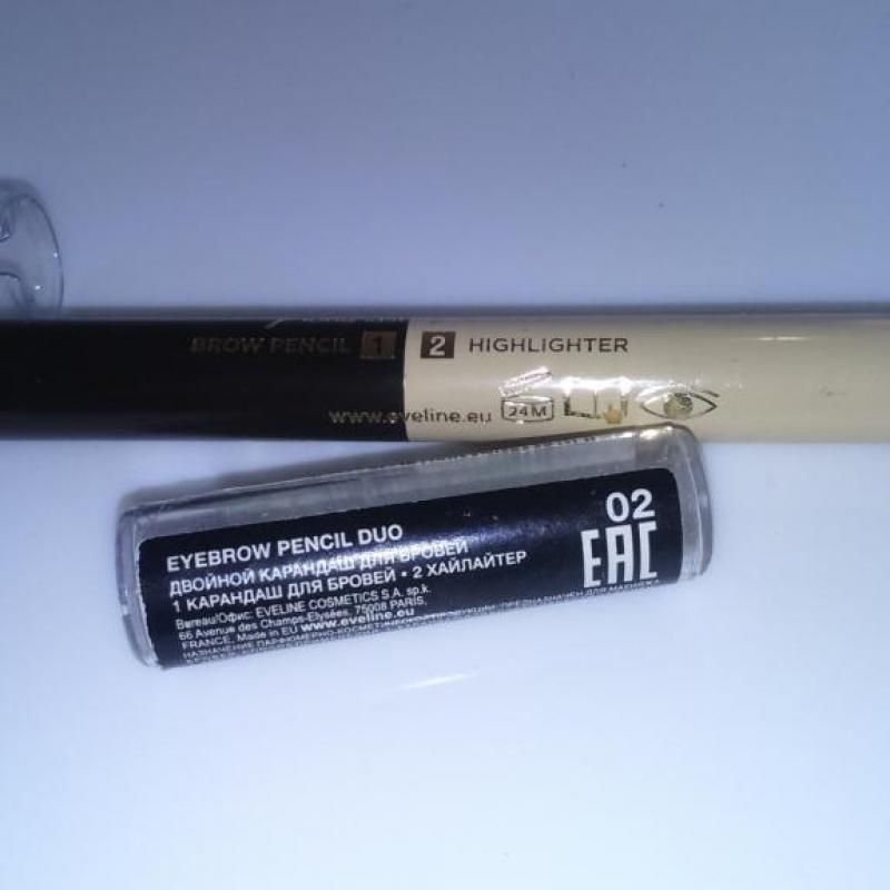 Двухцветный карандаш для бровей с хайлайтером Eveline Eyebrow Pencil Duo - фото