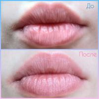Бальзам для губ Yves Rocher Карите - на губах До и После