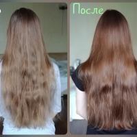 Тонирующая маска Estel Я Тон 6/74 Каштановый - эффект на волосах До и После