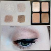 Палетка теней Maybelline The Nudes - свотчи и макияж глаз - оттенки 1, 2, 3, 4